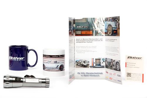 verschiedenste Printprodukte und Werbeartikel